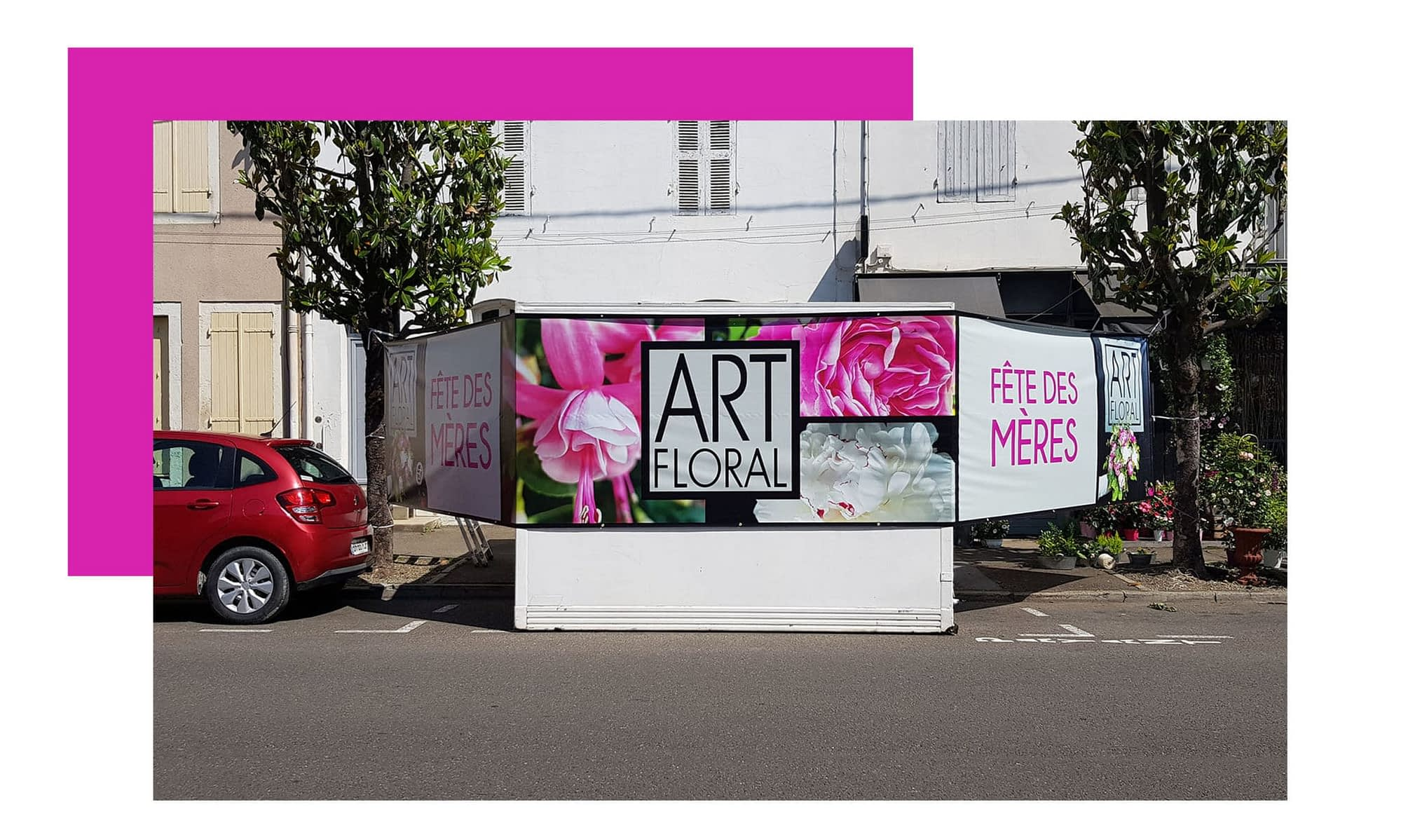 Bache fleuriste créée et imprimée par agence graphics
